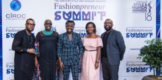 Abryanz Style and fashion Awards proprietor Ahumuza Brian (c) poses for a photo with Flavia Tumusiime, Santa Anzo and other guests at the 2018 Nominee release party held recently