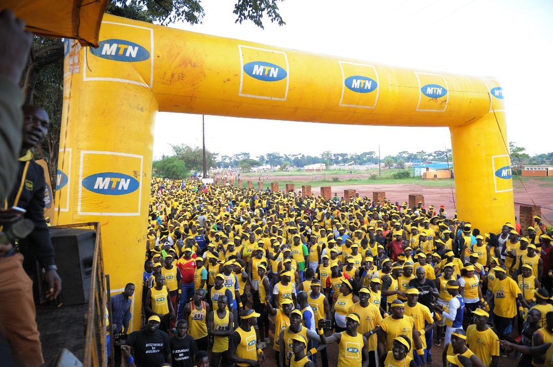 An overhead view of the runners in Gulu