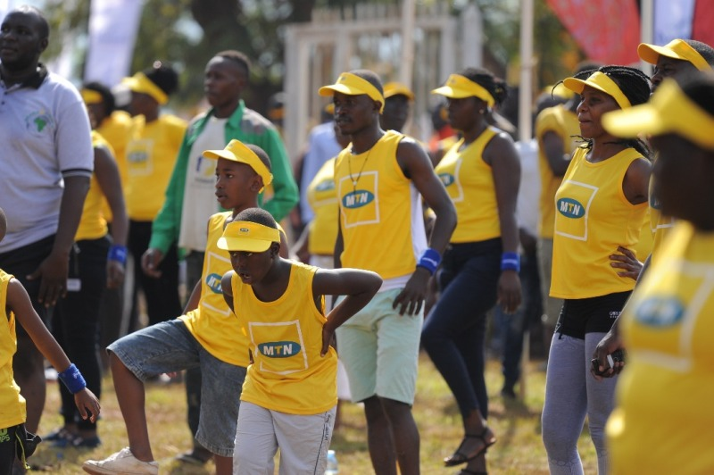 Participants at the MTN Marathon Mbale during a brief workout