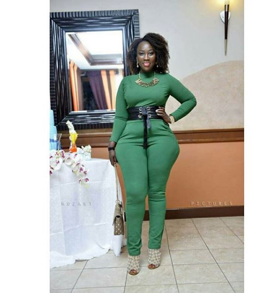 Faridah showing off her curves in a jumpsuit