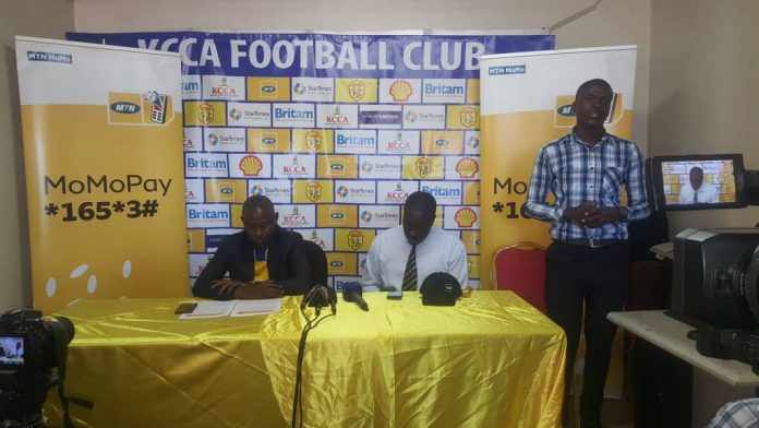 KCCA FC Officials with MTN Uganda executives at the launch of the Momo Pay partnership
