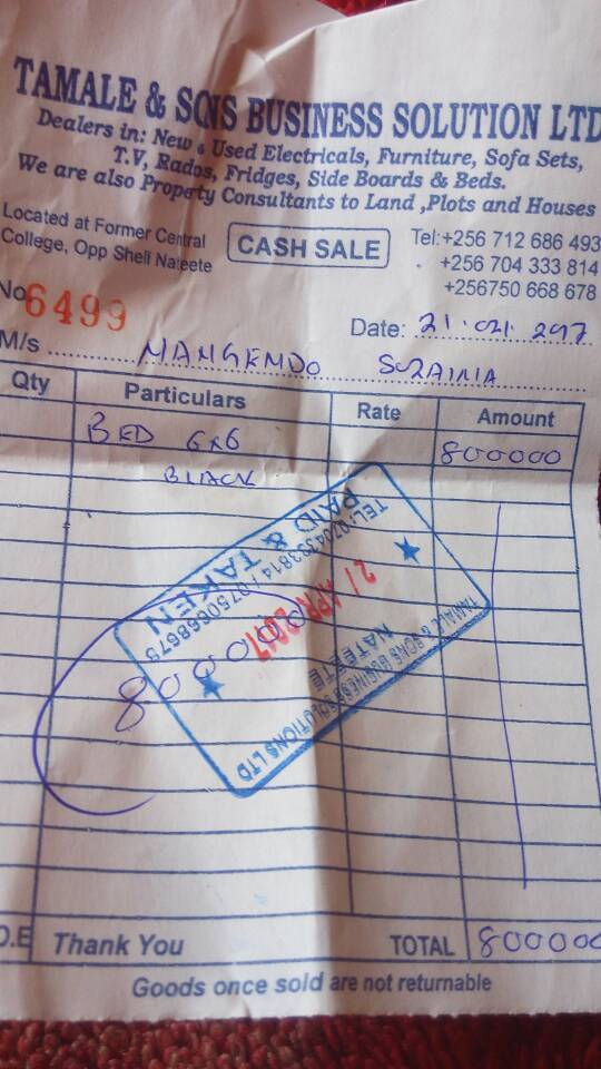 Sulayina's receipts after purchasing a brand new bed